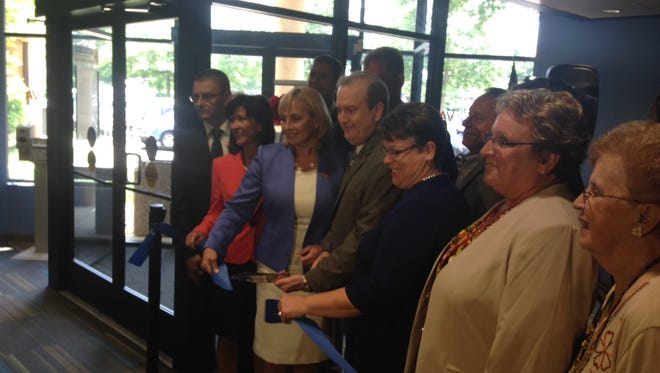 Lt. Gov. Kim Guadagno (third from left) participates in a ribbon-cutting ceremony at the Burlington County VA Clinic in Marlton on Wednesday afternoon.