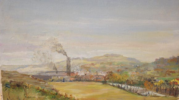 """This is more difficult than the other drawing to ID. Again, Reservoir Hill rises in the background. Could that plant be one of """"The Yorks"""", maybe York Ice Machinery's Grantley Plant - Johnson Controls along Richland Avenue today?  Where was the artist positioned to get this view?"""