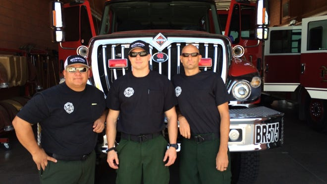 Engine boss Albert Bandin and firemen Nathan Maxcy and Joel Wainwright before they left for Southern California to help battle the Blue Cut fire.
