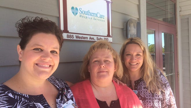 Breeze Skorupski, Angela Hodge and Tammy Johnson, of SouthernCare Hospice at the end-of-life care company's new location in Fond du Lac.