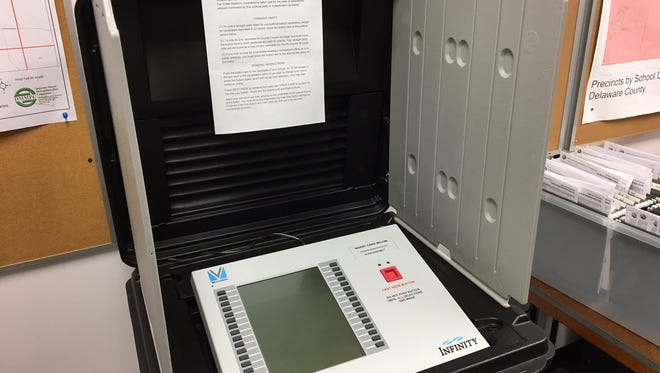 A voting machine available for early voting in the Delaware County election office.