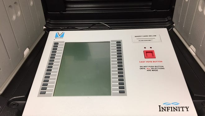 A Delaware County voting machine.