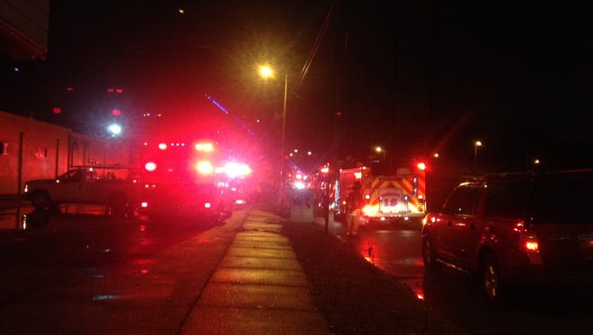 Emergency vehicles were crowded into York Avenue near Cooper as emergency crews put out a fire Saturday night.