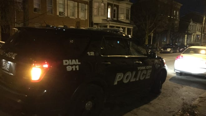 A person was shot in York on Monday night, and this was one of the police cars on Newberry Street in York.