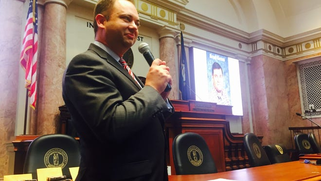 David Byerman speaks to legislative staff at ceremony in House chamber last month.