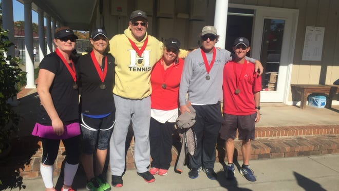 Shown are winners of the 4.5 Division from Cardinal Racquet Club from left: Martha Robinson, Elizabeth McKenzie, Rob Spencer, Kristi Rice, Patrick Rice and Captain Matt McKenzie.