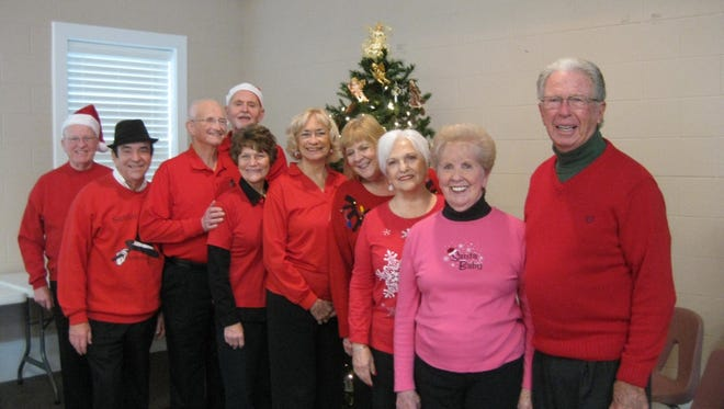 """Shown are Anderson Senior Follies """"To Go"""" who visited the Senior Fellowship group at First Baptist Church of Pendleton share with them some good Christmas fun."""