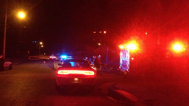 Memphis police officers and an ambulance respond to an incident on Stonewall on Friday evening.