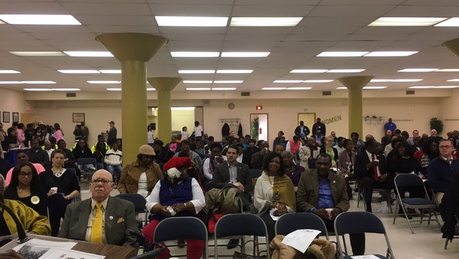 Members of the audience listen during the Martin Luther King Jr. Memorial Breakfast and Program at T.R. White Sportsplex, hosted by two local NAACP branches, on Monday.