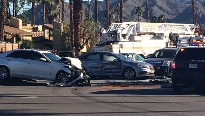 Four vehicles were involved in a collision at Ramon Road and Sunrise Way in Palm Springs. At least one person was injured.