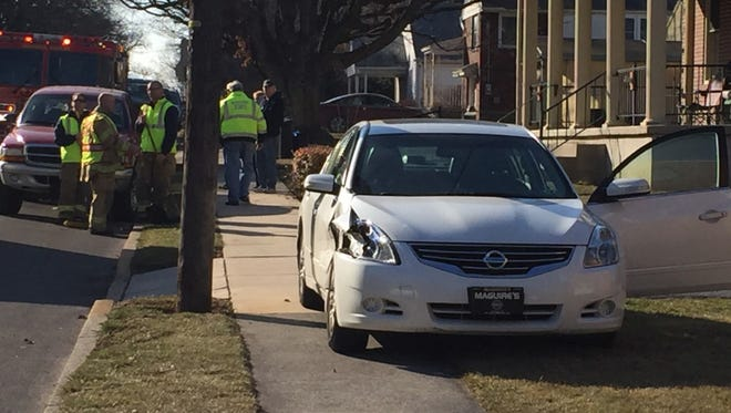 The front of a car was damage when its driver lost control and ended up on the sidewalk in the 200 block of East Walnut Street Monday afternoon. The drive was evaluated by medics at the scene. No police report was available.