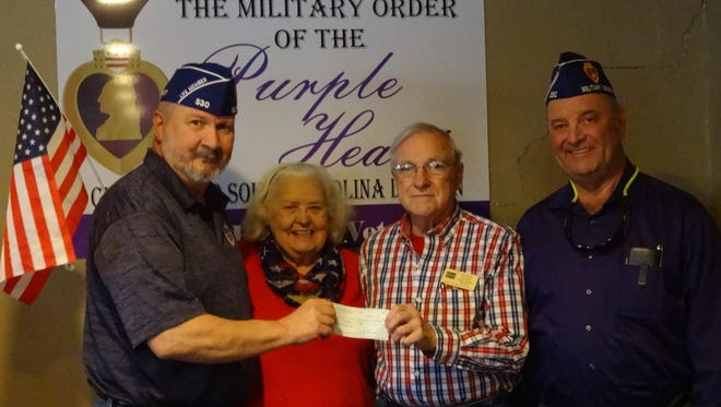 Shown from left are adjutant of MOPH Phil Harris, Linda Hempel, a member of Quilts of Valor, Tommy Forrest, coordinator of Anderson County Quilts of Valor and Commander Sammy Lewis.
