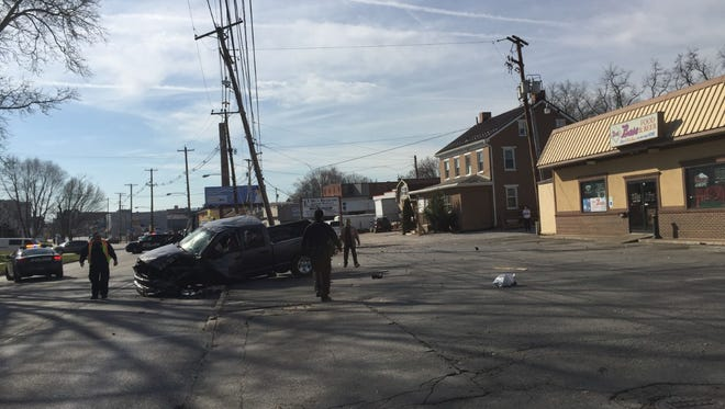 This pickup truck crashed into a utility pole in York on Tuesday, after the driver suffered a cardiac event, according to the York County Coroner's Office. He later died.