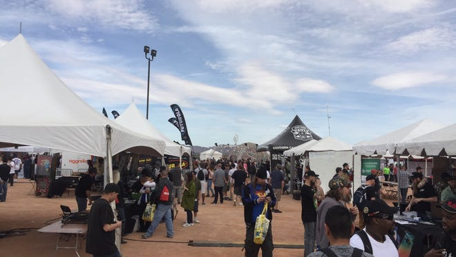 Vendor tents scattered about the Moapa Events Center for the 2017 Las Vegas Cannabis Cup. Varying aspects of the marijuana industry--from seed genetics, to grow facilities, to edible products--were represented at the festival on Saturday March 4.