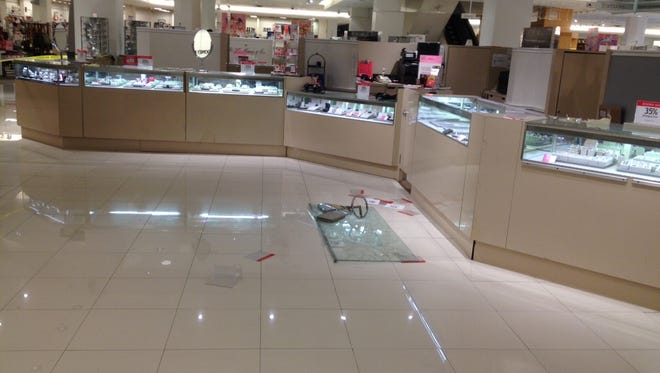 Four men stole an unknown amount of jewelry from the Macy's at Oak Court on Friday evening.