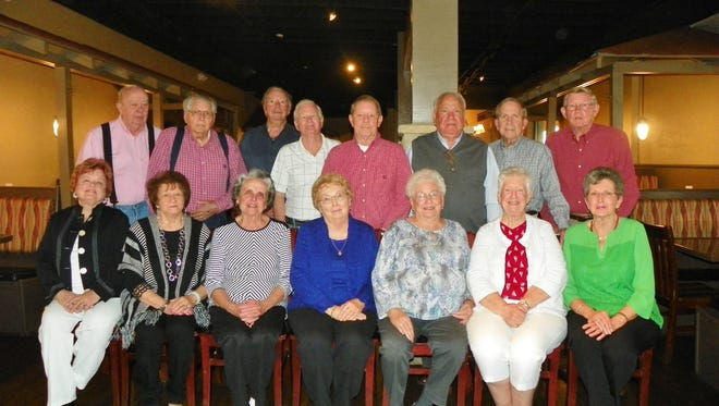 Shown are class members who attended the 1958 and 1959 reunion, seat, are Gloria Smith Haars, Jean Crawford Martin, Dorothy Branyon Mauldin, Betty Bracken Harrison, Linda Locke Roache, Lonita Taylor Jamerson and Fay Bryant Stafford; and sanding are Jerry Davis, Jim Davis, Gary Bryant, Doyle Griffin, Everette Segers, Fred Hood, Tom Timmerman and Willard Rainey. Attended but not pictured: William Rainey.