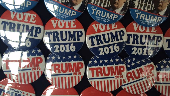 Buttons for sale at a Trump campaign stop in Wisconsin in April 2016.