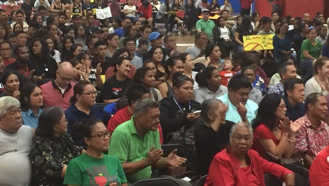 Simon Sanchez High School's cafeteria filled to capacity Tuesday May 2, 2017, for a town hall meeting on a bill that would have converted the public school in Yigo to a privately run charter school. Due to opposition to the bill, senators announced they would withdraw it.