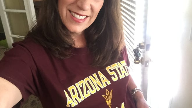 Karina Bland in her new T-shirt, given to her by another mom of a Sun Devil, Susi Keith.