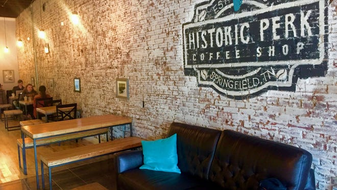 Inside the Historic Perk coffee shop in Springfield, Tennessee. The shop recently acquired Thyme for Lunch restaurant and will sell their menu in June.