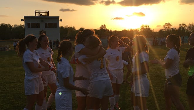 DeWitt soccer celebrates after beating Haslett, 2-0, in the CAAC Gold Cup semifinal.
