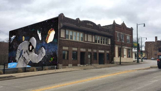 Mike Hottinger plans to open a peanut butter and jelly sandwich restaurant in this West Allis building, and paint one side with this mural.