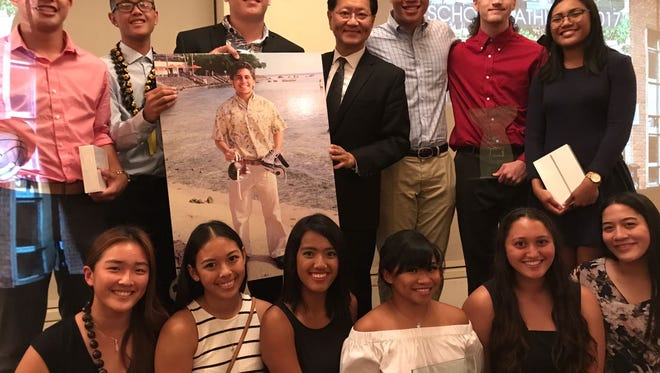 Finalists and winners of the 2017 Shieh Su Ying Scholar Athletes Awards are shown in this file photo with Dr. Thomas Shieh.
