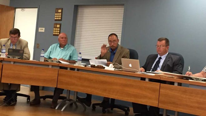 Lebanon School Board President Peter Pyles makes a point about the 2017-18 budget at a meeting on June 12. Listening (from left) are school board directors Rob Okonak and Tom Schaffer, and Asst. Superintendent Mike Murphy who was sitting in for Supt. Marianne Bartley.
