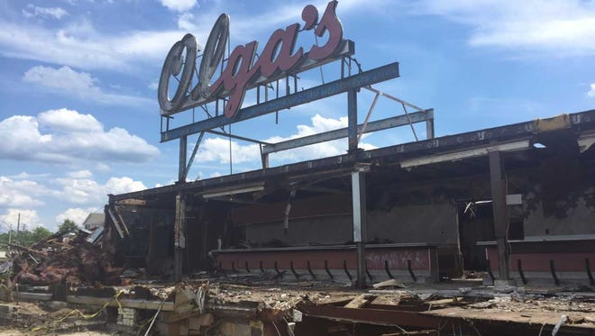 One of the iconic signs  from the former Olga's Diner will be saved for a display in Evesham.