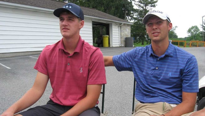 Former Lower Dauphin teammates Chad Stine, left. and Drew Patterson shot a sizzling eight-under par 64 on Friday during the second day of qualifying for the W.B. Sullivan Invitational Four-ball at Lebanon Country Club.