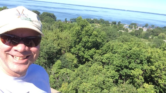 Lake Winnebago stretches off into the horizon in this selfie taken from the observation tower at High Cliff State Park.