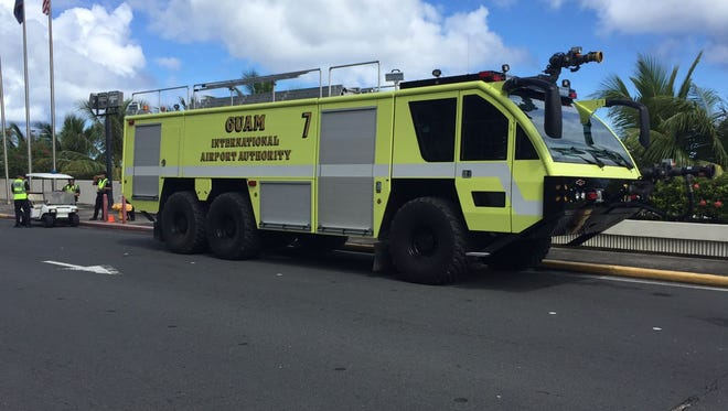 Guam International Airport unveils one of its two new firefighting and rapid intervention vehicles on Tuesday, Aug. 15.
