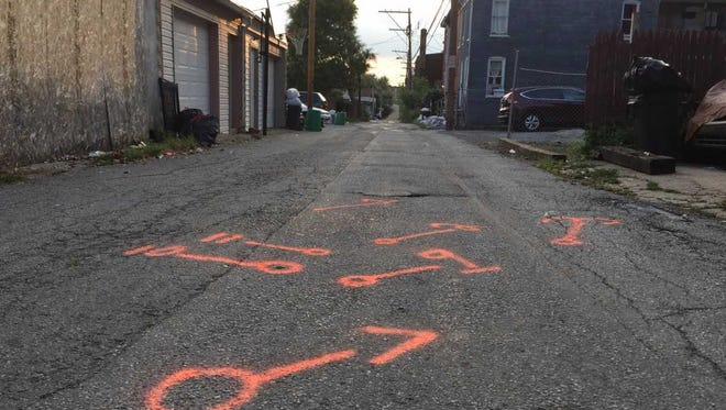 Detectives used spray-paint to mark the areas where they located evidence in an overnight shooting on Gas Avenue in York.