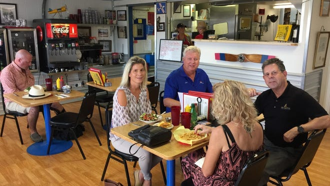 Lunchtime diners at the aviation-themed Benton Air Park Cafe in west Redding.