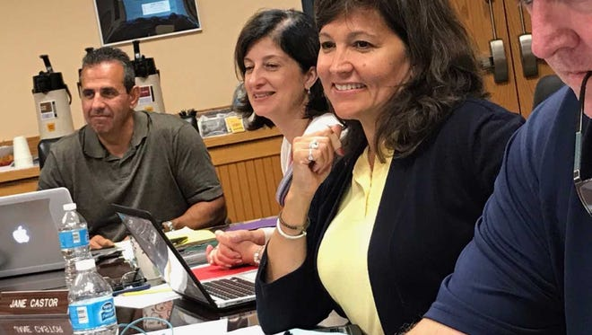 Lisa Sciancalepore, center in yellow, will run for the Franklin Lakes Borough Council as a Democrat in the November general election.