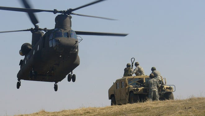 An Iowa National Guard Chinook helicopter.