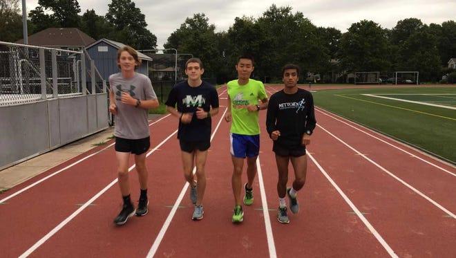 Metuchen cross country runners Eddie Malague, Caelan Johnson, Steven Tang and Divij Gupta train in a recent practice.