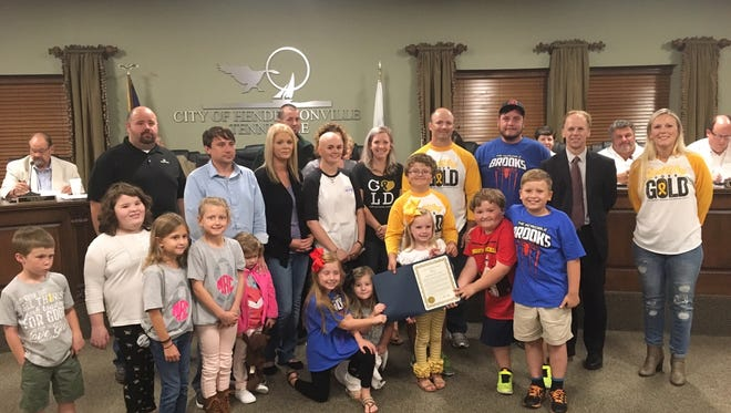 Cody Russell spoke before the Hendersonville City Council Sept. 12, 2017, and local families affected by pediatric cancer are pictured here with Mayor Jamie Clary.