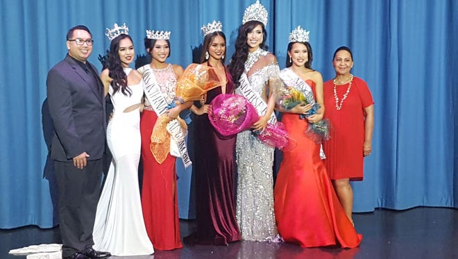 From left: DJ Pauly Suba; Annalyn Buan, 2016 Miss International; 2017 Miss International, Diliana Tuncap; 2016 Miss Universe Guam Muneka Joy Cruz Taisipic; 2017 Miss Universe Guam, Myana Welch; and 2017 1st Runner up, Maricia Mariano and Joyce Bamba, National Director.