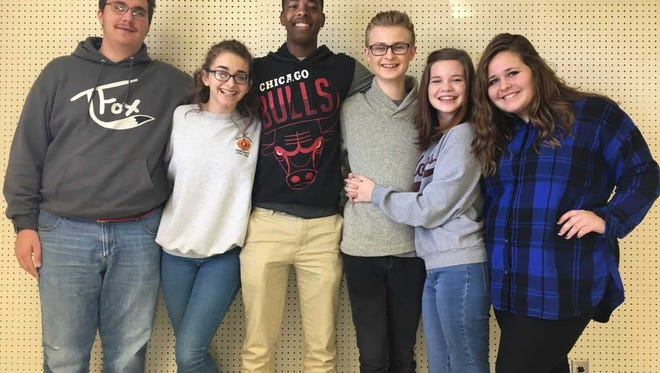 Seven students from Henderson County High School were recently selected for All-State Choir. Pictured from left: Elijah Folsom, Katherine Ivie, James Savage IV, Tyler Alexander, Alyssa DeCorrevont and Leah Whitesides. Absent for photo: Noah Hamblin   HCHS Choir Instructor:  Heather Lacey