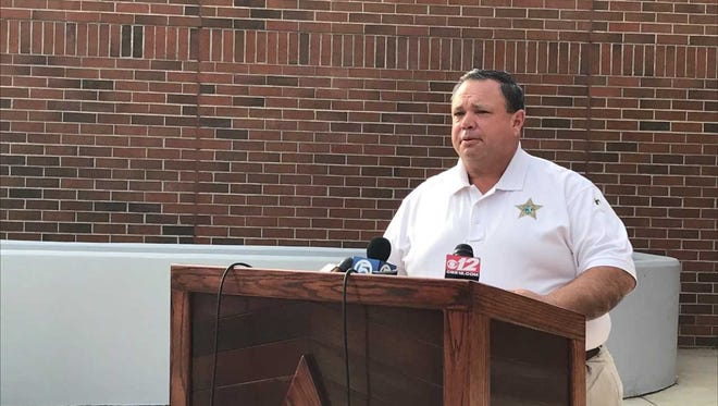 Okeechobee County Sheriff Noel Stephen speaks in front of the Sheriff's Office during a press conference addressing animal abuse allegations on Larson Dairy Farm.