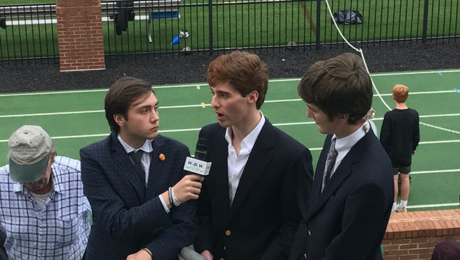 Doing a Webb School pregame broadcast are, from left, Peyton Gallaher, Jack King and Jake Yount.