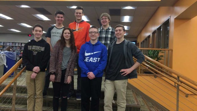 The Cedarburg Zero Robotics Team will compete at MIT on Thursday, Jan. 11. Team members are (from left, front row) James Cullen, Abigail Pigatto, Elliot Fairchild, Martin Diges, (back row) Spencer Schoenberg, Brandon Lusk and Ryan Wandsnider.