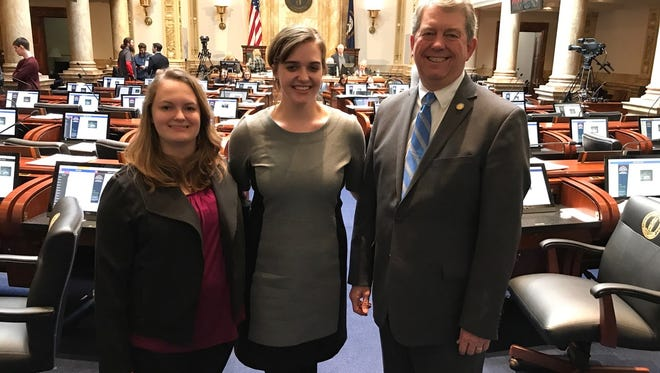 Sen. DorseyRidley, D- Henderson, poses for a picture during recess of the 2018 Legislative Session with Henderson residents Anna Farmer Mayo and her sister, Mary Jane Farmer Mayo. Anna, a student at the University of Kentucky is currently interning for Sen.Ridleyin Frankfort through the LRC Internship program. On Jan. 18,  her sister, Mary Jane traveled to Frankfort to shadow Anna for the day. Ridleyrepresents the 4th Senate District, which is in Caldwell, Crittenden, Henderson, Livingston, Union, and Webster Counties.To contact Sen.Ridleywith questions or concerns, call the Legislative Message Line toll-free at 1-800-372-7181 or email Dorsey.Ridley@LRC.KY.GOV.For more information on the 2018 Kentucky General Assembly, visitLRC.KY.GOV.