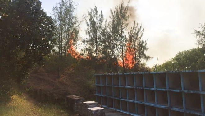 The scene of a grass fire near the Merizo Catholic Cemetery.