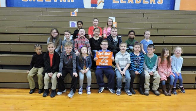 A. B. Chandler Elementary's leaders of the month are, front row from left: Carson Taylor, Elliott Sutton, Max Hurt, Gentry Parker, Isaac Phillips, Michael Stone, Katey Crockett, Michael Hewgley, Zoey Gray and Grace Duncan. 2nd row: Harmony LaPradd, Chase Welden, Levi Smith, Jailyn McDonald Royster, Micah Herron, Azjay Rhodes and Adalynn Nunn. Back row: Dayvion Long, Jaxon Chaney and Jacinda Growe.