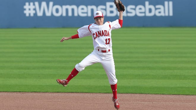 A member of the Canadian national team makes a play during the 2016 Women's Baseball World Cup in Korea.