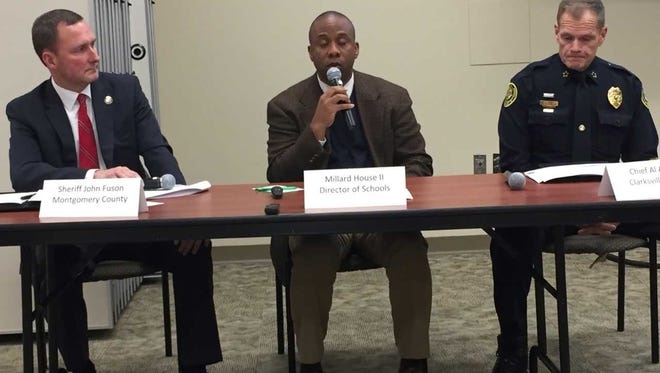 Montgomery County Sheriff John Fuson, CMCSS Director of Schools Millard House II and CPD Chief Al Ansley talk about school safety Monday.