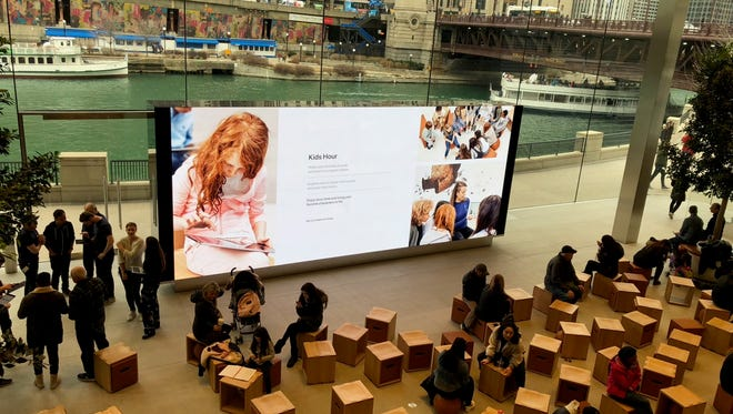 The Apple Store on Michigan Ave. in Chicago . Apple is encouraging kids to learn coding.