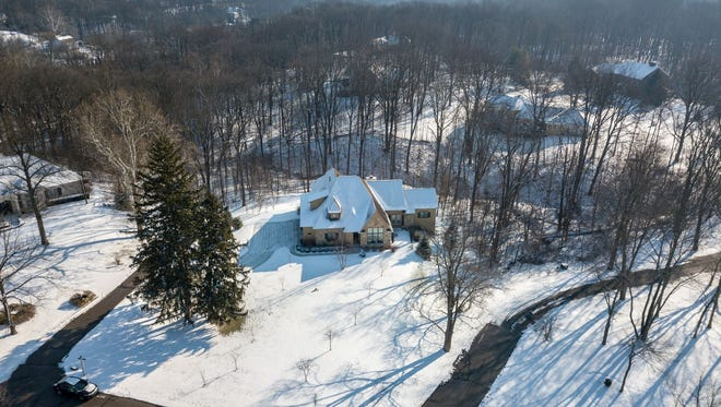 An aerial view of the property at 9153 Paddock Court in Indianapolis